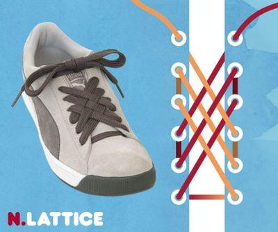 まず靴ひもの両端をまっすぐつま先の両方の穴の下から外へ出します。 2. 左右のひもを交差させ、2つの穴を飛ばし、つま先から4つ目の穴に外から中へ通します。 3.
